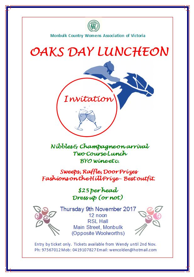 Oaks Day Flyer 2017