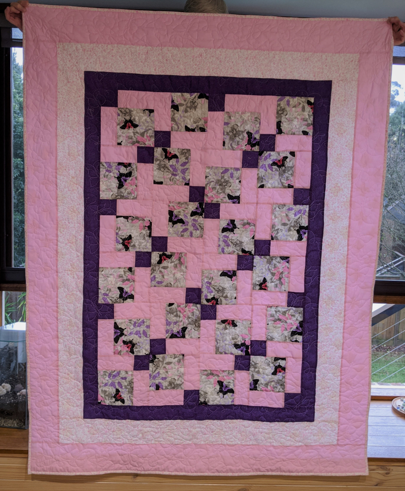 Ph 6 - Pink purple butterflies quilt - Jenny Stokes